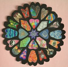 "Medieval ""stained glass"" rose windows using black paper and tracing paper"