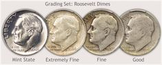 Roosevelt Dime Grading Set - Mint State, Extremely Fine, Fine, and Good Grades
