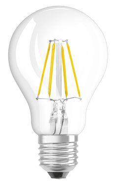 OSRAM LED-Lampe E27 Retrofit Classic A / 4W - 40 Watt-Ersatz, LED Birne als Kolbenlampe / klar, warmweiß – 2700K: Amazon.de: Beleuchtung