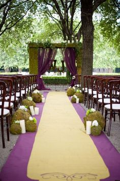 Disney Inspired Wedding Princess and the Frog. Cerimony with purple and green moss.