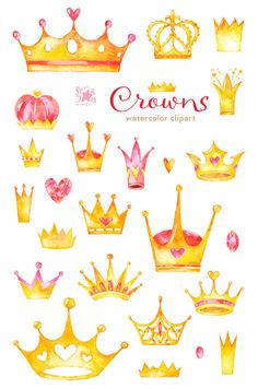 Crowns. Watercolor clipart diadem gold queen by StarJamforKids