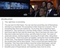 Looking at their faces is almost as good as watching the episode... They're so proud of the work they've done and rightfully so, Supernatural wouldn't be Supernatural without them. Thank you Jared and Jensen for 200 amazing episodes and your endless dedication to you fans