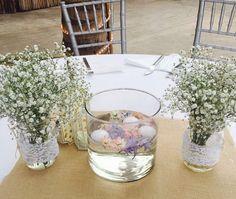 CBV253 wedding Riviera Maya baby breath and Candles centerpieces / centro de mesa con mason jars velas y un toque de color