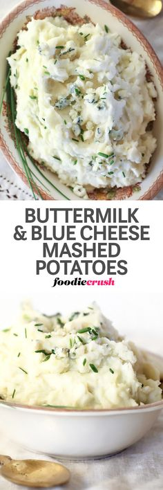 Butter and the tang of buttermilk with blue cheese give these 5 ingredient mashed potatoes a rich flavor that pairs perfectly with chicken, beef or pork. | foodiecrush.com #potatoes #sidedish #recipes #bluecheese
