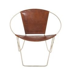 Woodland Imports Metal Leather Arm Chair & Reviews | Wayfair