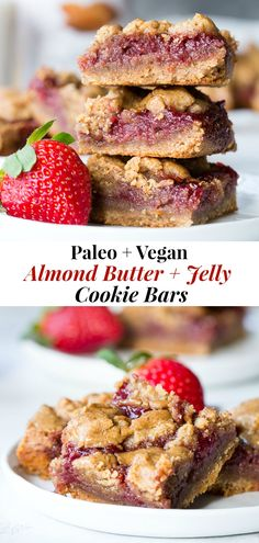 delicious food These gooey, sweet, and perfectly chewy Almond Butter and Jelly Cookie Bars are a great treat to have around for a heathy snack or dessert. They're paleo, vegan, gluten-f Paleo Dessert, Healthy Dessert Recipes, Healthy Sweets, Vegan Desserts, Drink Recipes, Paleo Baking, Baking Recipes, Paleo Food, Paleo Recipes