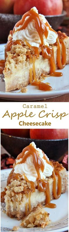 All of the sweet and caramely goodness of a traditional apple crisp, baked on graham cracker crust cheesecake and topped with a dollop of whipped cream. by goldie The post Caramel Apple Crisp Cheesecake appeared first on Food Monster. Apple Crisp Cheesecake, Cheesecake Recipes, Dessert Recipes, Caramel Cheesecake, Cheesecake Cake, Dessert Blog, Chocolate Cheesecake, Dessert Table, Dinner Recipes