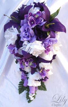 Purple White Wedding Bridal Bouquet Cascade Silk Rose Flower Package ...