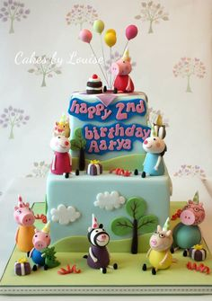 2 tier peppa pig cake with a birthday party theme! :)