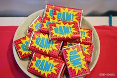 Super Heroine Party | CatchMyParty.com 5th Birthday, Birthday Parties, Girl Superhero Party, Super Girls, Cake Board, Candy Bar Wrappers, No Bake Cake, Design, Fiestas