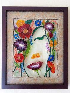 """Flower art 15""""x12"""" Glass painting Bohemian decor Wall decor Painted glass by CozyHome1 on Etsy"""
