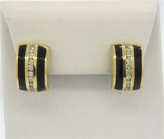14K Gold Onyx Diamond Half Hoop Earrings Featured in our upcoming auction on December 14, 2015 11:00AM EST!