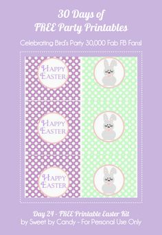 30 Days of FREE Party Printables: Day 24 - Hippity Hoppity Easter Collection from Sweet by Candy by Bird's Party