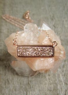 druzy quartz bar necklace