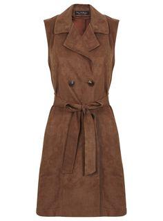 Brown Suedette Sleeveless Jacket