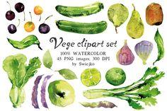 Watercolor Veggies and Fruits @creativework247