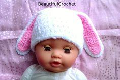 Babymütze gehäkelt Hase, bunny hat cap, Schneehase have a look on my website: beautifulcrochet.wordpress.com/