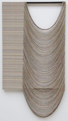 """Gabriel Pionkowski, Untitled, 2011  """"Pionkowski's process, by contrast, uses a loom. Unraveling canvas into discrete strands by hand, he paints each deconstructed string individually and then weaves the strands back together in a labor-intensive fashion that harnesses the poetic potential of loss and renewal. """"  http://galerielelong.com/exhibition_pr/1277"""