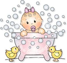 Free Digi Stamps   Bathtime Baby - Digi Stamp