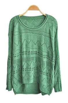 green cut out knitted jumper