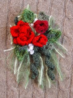 Crochet Corsage Red Roses  by meekssandygirl, via Flickr