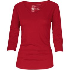 Fat Face Bordeaux Notch Neck 3/4 Sleeve T-Shirt ($12) ❤ liked on Polyvore featuring tops, t-shirts, shirts, blusas, red t shirt, tee-shirt, v neck t shirts, 3/4 length sleeve shirts and three quarter sleeve t shirts