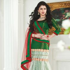 #Green Net #LehengaCholi with Dupatta