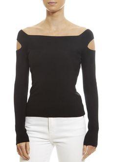 Off Shoulder Slit 'Black' Top Rose Clothing, Shirt Blouses, Shirts, Outerwear Women, Eileen Fisher, Fashion Boutique, Black Tops, Women's Tops, Fashion Ideas