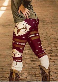 Christmas Reindeer Arrow Printed Stretchy Leggings
