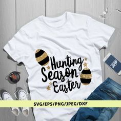 Hunting Season Easter SVG Easter Shirts For Boys, Hunting Season, Happy Easter, Tee Shirts, Seasons, Mens Tops, Stuff To Buy, Egg, Commercial