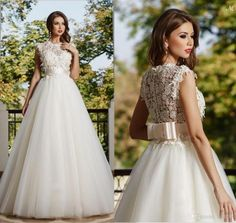 2015 New Hot Selling Sexy Illusion Jewel Neckline Maya Fashion A-Line Wedding Dresses Illusion Backless BowTulle Lace Bridal Gown Spring Gar Online with $124.61/Piece on Hjklp88's Store