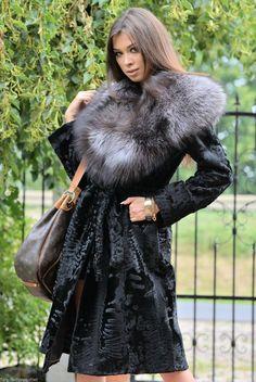 New Black Swakara Fur Trench Coat Silver Fox Class Sable Chinchilla Jacket Mink | eBay