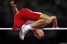 High jumper Lukasz Mamczarz completes a jump