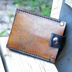 Men's Hand Stiched Brown Leather Snap Wallet  Money Clip