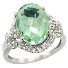 white gold & green amethyst