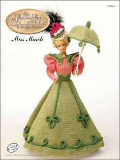 Crochet - Doll Patterns - Doll Clothes Patterns - Gibson Girl Miss March $3.95
