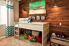 Modern Big Kid Room with Customized KURA Bed and Wood Accent Wall - Project Nursery