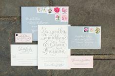 Invitations: Bella Figura | Real Wedding: Edwin and Priyanka | Photo: Abby Grace