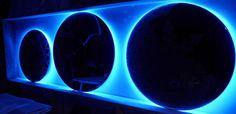 Lighting Circles - Signed by the glass art creative Josep SanJuan - Tech.: Glass Fusing with Titanium, Gold & Platinum with a Retro-LED lighting system - Cat.: Metallic & Dichroic