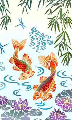 Why Hon File Cabinets Are The Only Option For Your Property Or Office Koi-Carp-Mural-Stencil Fish Stencil, Animal Stencil, Stencil Art, Tiger Stencil, Damask Stencil, Stencil Patterns, Koi Painting, Silk Painting, Koi Art
