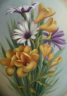 Freezias and Daisies acrylic on canvas by artist Sue Pruett