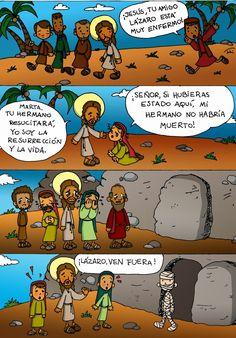 Educar con Jesús: Resurrección de Lázaro Jn 11,1-45 (en tiras)