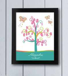 Butterfly Fingerprint tree Guest Book/ printable pdf / fairy Christening Baby Shower guestbook ideas thumbprint birthday girl colorful pink