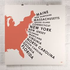Tangerine print of the East coast states by www.orangeandpark.com