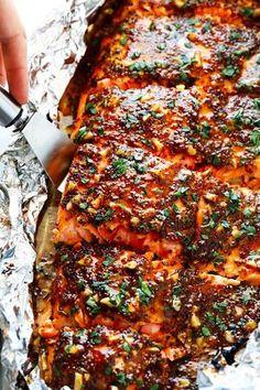 Honey Mustard Salmon in Foil with Whole Grain Mustard, Honey, Garlic, Fresh Lemon Juice, Smoked Paprika, Kosher Salt, Black Pepper.