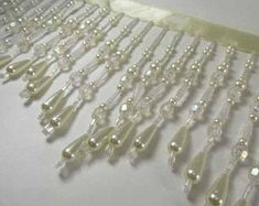 Beaded Lace Trim Ivory Pearl Beaded Trim 36 long   Etsy Beaded Trim, Beaded Lace, Lace Trim, Bugle Beads, Pearl Beads, Wedding Belts, Beaded Jewelry Patterns, Ivory Pearl, Faceted Crystal