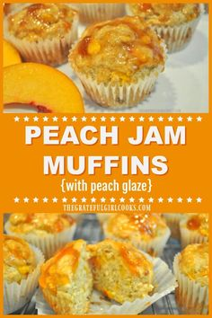 You will enjoy these family friendly, easy to make Peach Jam Muffins, with a sweet peach glaze on top! They are delicious, and filled with peaches and cinnamon! / the Grateful Girl Cooks! Peach Jelly, Peach Jam, Sweet Peach, Peach Fuzz, Muffin Tin Recipes, Fruit Recipes, Dessert Recipes, Cooking Recipes, Peach Butter