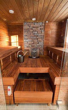 Wood Burning Sauna by Kannustalo, Finland. Great use of the darker wood in the sauna. Saunas, Sauna Steam Room, Sauna Room, Pool Indoor, Piscina Spa, Sauna House, Finnish Sauna, Swedish Sauna, Outdoor Sauna