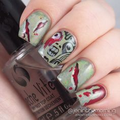 Halloween Zombie Nails   #nail #nails #manicure #mani #zombie #halloween #stamping