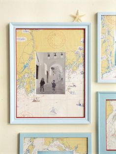 Frame travel photos with a map of that destination as the mat.  From Martha Stewart Living, August 2002. #Travelphotos